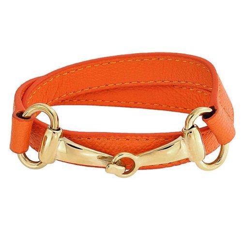 Bling Jewelry Orange Aus Echtem Leder Pferd