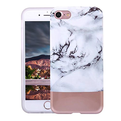 VMAE iPhone 6s Plus Case Ultral Slim Anti-Scratch Soft TPU Cover Print Crystal Stone Marble Pattern Hard Shockproof Case For iPhone 6 Plus / iPhone 6s Plus 5.5inch - Black&Gold white&gold