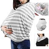 Zooawa Fular Portabebés Pañuelo de Lactancia Cubierta del Cochecito de Bebé Pañuelo de la bufanda de la Lactancia Chal - Raya Gris y Blanca