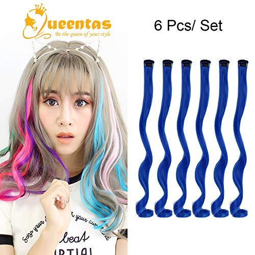 Queentas Ultramarine Curly Clip in Haarverlängerungen Lange Haarteile Farbige Party Highlights für Cosplay Halloween (6 Stücke x 20