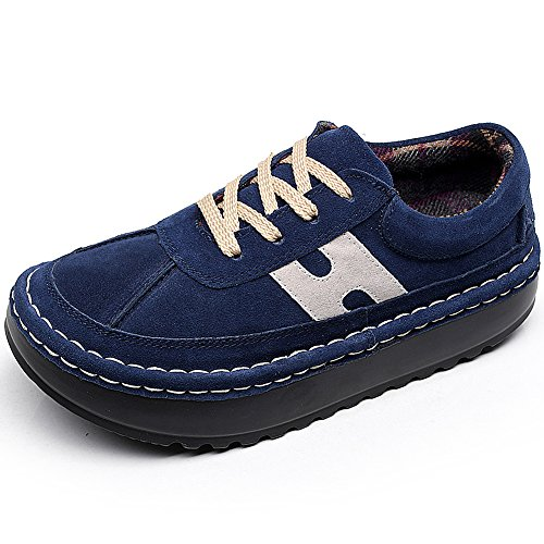 Shenn Women's Platform Casual Comfortable Navy Suede Trainers Shoes UK5