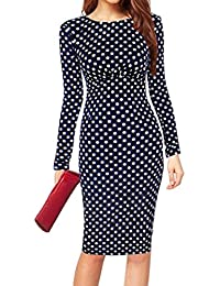 209a8adec7 Minetom® Women s Long Sleeve Bodycon Formal Polka Dot Printed Party Evening  Cocktail OL Pencil Dress