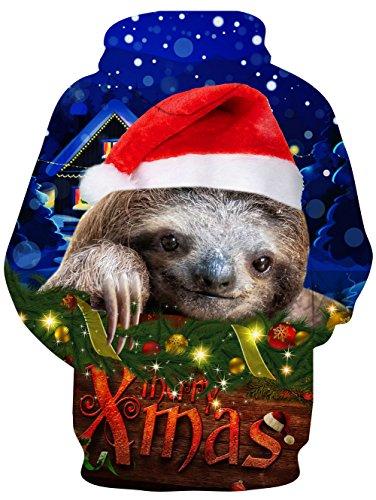 Weihnachten-Hoodie, Chicolife Herren Unisex Jumper lustige 3D gedruckte Tunnelzug Katze grafische Pullover Hoodies Santa Sweatshirts Taschen Xms Kapuzenpullover S-XXL XMAS