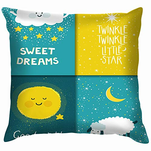 beautiful& Set Four Night Cards Cute Star Funny Square Throw Pillow Cases Cushion Cover for Bedroom Living Room Decorative 18X18 Inch (Lullaby Baby-lounge)