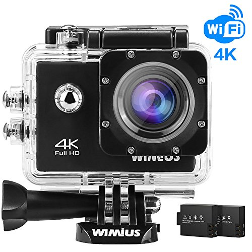 WiMiUS 4K Action Camera WiFi Waterproof Camera 16MP 1080p 60fps HD 2.0'' Camcorder Sports Camera Bike Helmet Cam with 2 Batteries and Accessories (Q1-Black