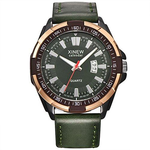 WINWINTOM Luxus Herren Flieger Weiß Automatik Mechanische Datum Tag Leder Armbanduhr (Grün)