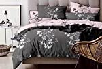 Six pieces king sizes Duvet cover cotton bedding set with fitted sheet and two sides reservible