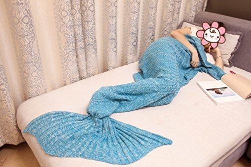 Mermaid Decken Fischschwanz Klimatisierte Decken Sofa Decken Wolle Gestrickt Nickerchen Decke Kinder,A8