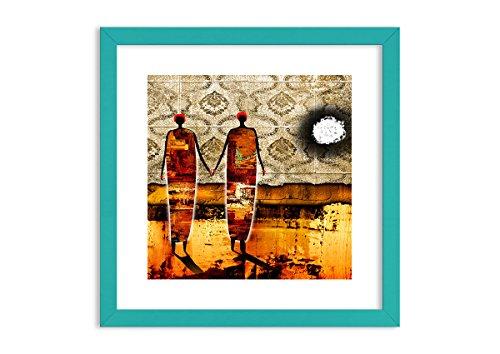 Bild im blauen Holzrahmen - Bild im Rahmen - Bild auf Leinwand - Leinwandbilder - Breite: 40cm, Höhe: 40cm - Bildnummer 0659 - zum Aufhängen bereit - Bilder - Kunstdruck ()