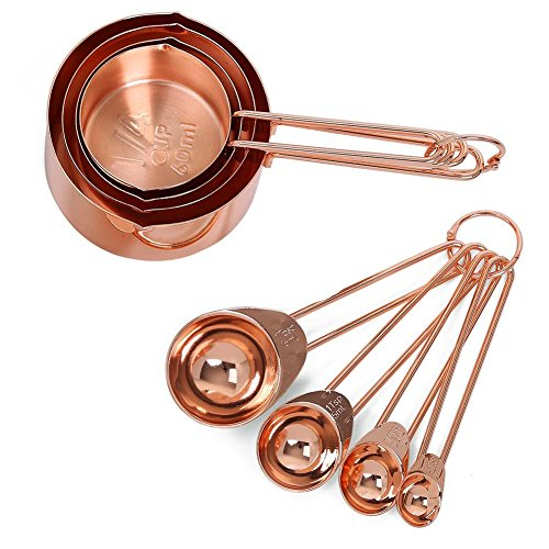 flyingx Messbecher-Set Zum Backen, 8er-Set Edelstahl Messbecher Und Messlöffel 60 Ml, 80 Ml, 125 Ml, 250 Ml, Rose Gold, 4 Cups & 4 Spoons Multifunktions Für Küche Kochen Backen Gold Cup