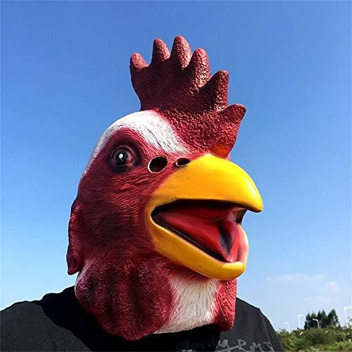YaPin Halloween Karneval Latex Hahn Singen Weltkostüm Ball Tier Leistungsmaske Großen Hahn Türkei Kopfbedeckung Maske Requisiten
