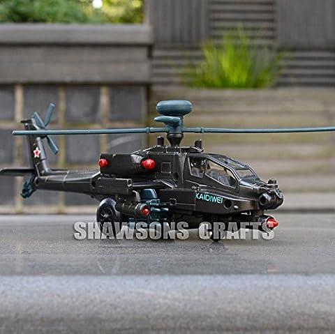 DIECAST METAL MILITARY MODEL TOYS 1:64 AH-64 APACHE HELICOPTER SOUND & LIGHT/ MODÈLE DE HÉLICOPTERE MILITAIRE AH-64 APACHE DIECAST JOUET SON ET LUMIÈRE
