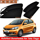 Autofact Metal Frame Magnetic Window Sunshades/Curtains with 2 Front Zipper for Tata Tiago (Black) - Set of 4