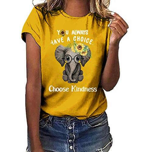MEIbax Estampado Amor Elefante Girasol Camiseta de Manga Corta Mujer Tops Moda señoras Mujeres Sueltas Jersey Camisa Tank Tops Mujeres Chaleco Tops Blusas Camisetas de Tirantes (Amarillo, M)