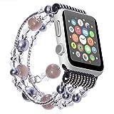 ANGGO Apple Watch Armband iwatch Strap Mode Elastische Stretch Ersatz Armbanduhr Armband Gürtel Uhrenarmbänder für Apple Watch Serie 3 Serie 2 Serie 1 Alle Version(38mm/Grau)