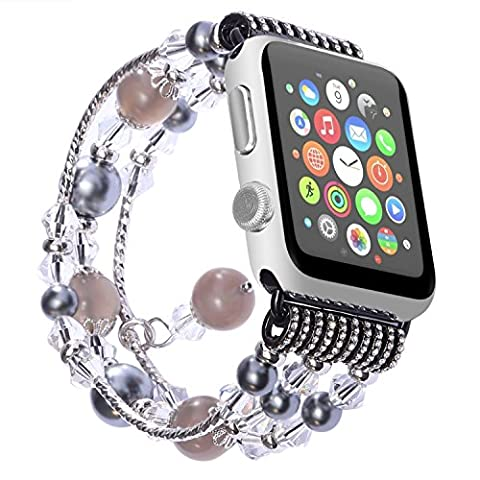 Watch Band , ANGGO Fashion Elastic Stretch iwatch Strap Replacement Wristwatch Bracelet Agate Naturel pour Apple Watch Series 2 Series 1 All Version (38mm / Gris)
