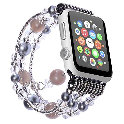 ANGGO Watch Armband iwatch Strap Mode Elastische Stretch Ersatz Armbanduhr Armband Gürtel Uhrenarmbänder für Apple Watch Serie 3 Serie 2 Serie 1 Alle Version(38mm/Grau) -