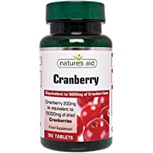 Natures Aid Cranberry 200mg (equivalent to 5000mg of fresh cranberries), 90 comprimés. Suitable for Vegans.