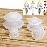 Lunata 4x Set Schröpfgläser, Anti Cellulite Massage Cup, Saugglocke, Schröpfglas gegen Orangenhaut, Silikon Cups für eine professionelle Schröpfmassage