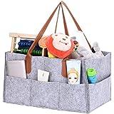 Pañales Caddy organizador con asa para ropa/toallas/pañales Caddy, plegable bolsa de almacenamiento de fieltro niños juguetes bolsa organizador gray