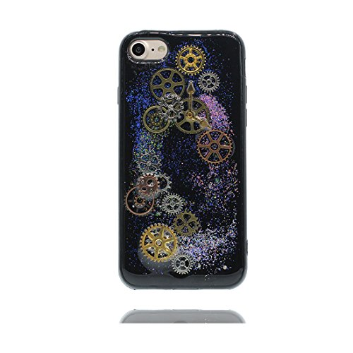 iPhone 6S Plus Custodia, iPhone 6 Plus Copertura, Bling liquido fluido trasparente in silicone durevole Cartoon Cover - stelle Bling - ( Case Per iPhone 6s Plus /6 Plus 5.5 ) Marrone Nero 1