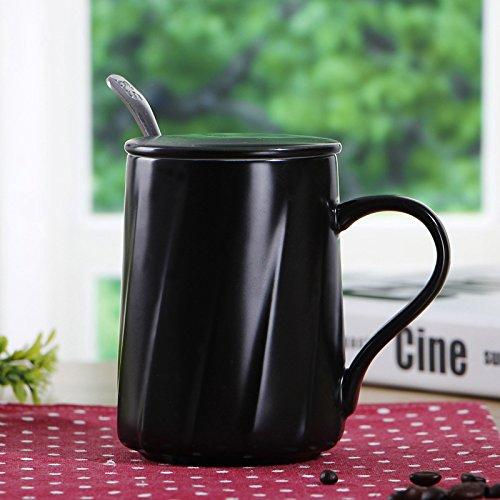 AJUNR-Einfach Und ExquisitInländische White Coffee Mug Keramik Becher Mit Deckel Die Liebhaber Schale Schwarz