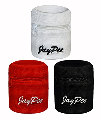 JayPee 3er Set Funktions-Schweißband -Fach/Tasche mit Reißverschluss -Rot-Weiß-Schwarz- (Mix (schwarz-weiß-rot)) (Reißverschluss-tasche 3-fach)