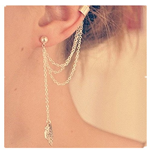 Damen Ohrringe Schmuck Ohrstecker stecker DAY.LIN Punk Persönlichkeit Clip Tassel Blatt Charme Metall Ohrclip Ohrstecker (Gold)