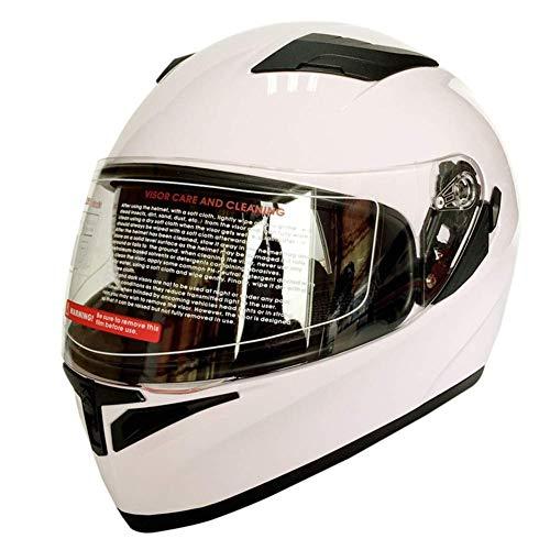 L&WB Motorradhelm Outdoor Riding Sicherheit Doppel-Objektiv Helm warmen Helm,White,L