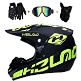 LETU Doppelter Sport-Motocross-Helm für Erwachsene MX-Motorradhelm ATV-Roller für Downhill-Schutzhelm D.O.T mit Schutzbrille (4er-Set),L59~60CM