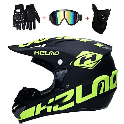 LETU Doppelter Sport-Motocross-Helm für Erwachsene MX-Motorradhelm ATV-Roller für Downhill-Schutzhelm D.O.T mit Schutzbrille (4er-Set),S55~56CM