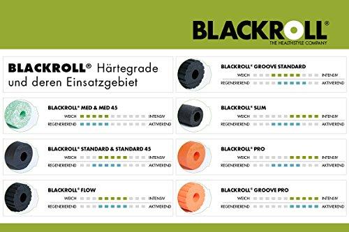 Blackroll Flow Faszienrolle – Das Original (Härtegrad Mittel) – Selbstmassage-Rolle mit Doppeltem Effekt für die Faszien in Schwarz + Booklet