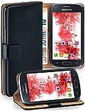 moex® Booklet mit Flip Funktion [360 Grad Voll-Schutz] für Samsung Galaxy Ace 4 | Geldfach & Kartenfach + Stand-Funktion & Magnet-Verschluss, Schwarz