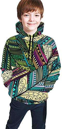 EYSKJ Kapuzenpullover Abstract Feather Youth Boys Girls 3D Print Pullover Hoodies Hooded Seatshirts Sweater -
