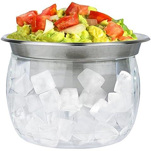 Estilo Acero Inoxidable DIP Bowl con acrílico de refrigeración para hielo cuenco Base