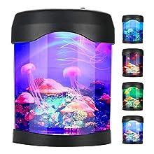 Wifehelper Artificial Mini Aquarium Fish Tank, Multi Color LED USB Aquarium Light Desk Mini Fish Tank Mood LED Lighting Color Changing Night Lamp