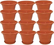 Meded Siti Plast Heavy Duty Plastic Planter Pots with Bottom Tray Color Terracotta (10 Inch, Pack of 12)