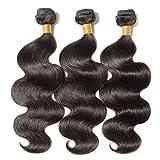 Human Hair Weave Gewellt 100% Brasilianisches Virgin echthaar tressen Body Wave Remy Haarverlängerung #1B Naturschwarz (60cm -100g)