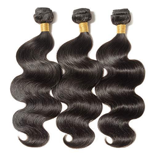 Human Hair Weave Gewellt 100% Brasilianisches Virgin echthaar tressen Body Wave Remy Haarverlängerung #1B Naturschwarz (75cm -100g) - Extensions 100 Nähen Echthaar