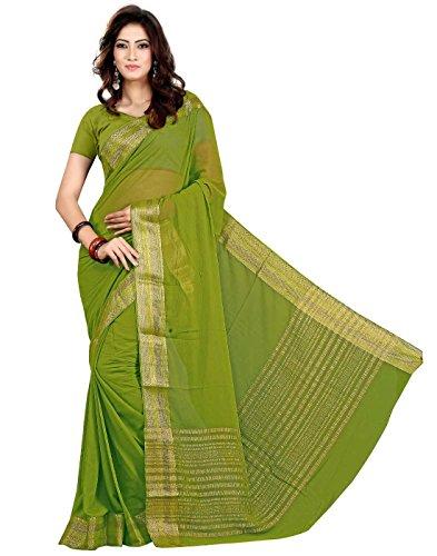 Roopkala Women Mysore Chiffon Plain Silk Saree (DS-267,Green)