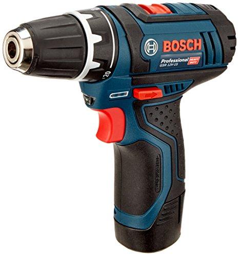 Bosch Professional Akku-Bohrschrauber GSR 12V-15 (mit 2x 2,0 Ah Akku, Ladegerät, 39-tlg. Zubehör-Set, Profi-Tasche, max. Schrauben-Ø: 7 mm, 12 Volt)