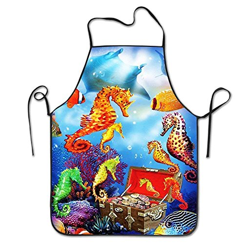 KLYDH Tropical Underwater Ocean Housewife Home Chef Cooking Apron Working Chefs Kitchen Cooking Cook Women's Bib Apron