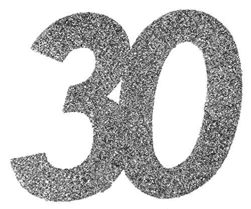 Xxl Konfetti Tischdeko Zahl 30 Geburtstag Silber Glitzer 6 Stuck