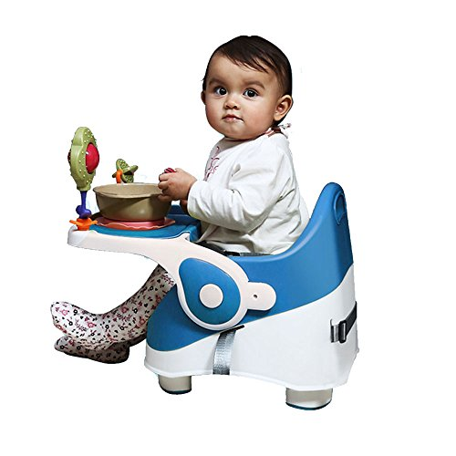 GoodLuck Baybee Folding Baby Booster Seat Chair with 3 Point Safety Harness Suitable, 6 Months - 3 Years (Blue, KZM01B)
