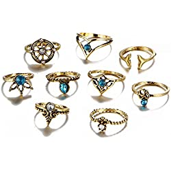Lureme Vendimia Ancla Mermaid Knuckle Stacking Band Midi Mid Anillo Set of 9pcs-Anti Oro (rg001866-2)