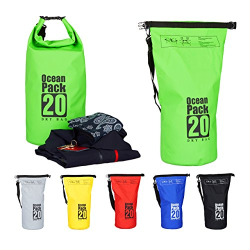 Relaxdays Ocean Pack, 20L, wasserdicht, Packsack, leichter Dry Bag, Trockentasche, Segeln, Ski, Snowboarden, grün Pack-kleidung