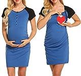 MAXMODA Umstandsnachthemd Maternity Kleid Still-Nachthemd Stillkleid Nachthemd für Schwangerschaft und Stillzeit Schwarz S