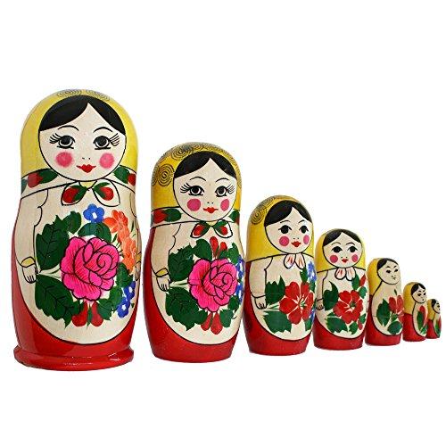 Matroschka, Babuschka, Steckpuppe 'Gelbes Tuch' 7-tlg. 16cm