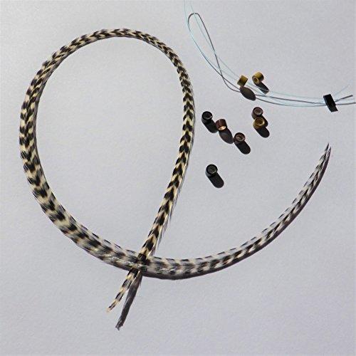 Extension plume naturelle rayée grizzly noire et blanche ! Taille au choix L XL XXL , perle et passe mèche offert