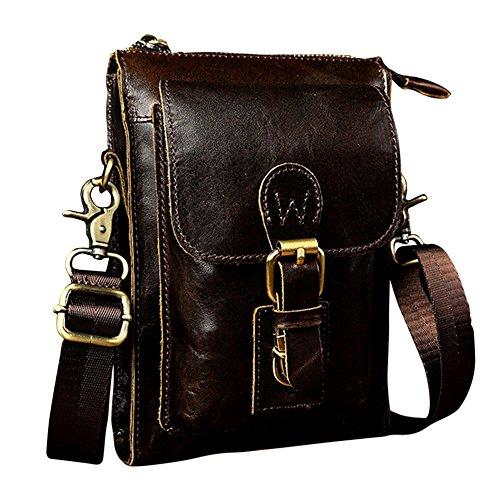 Genda 2Archer Mini Bolso del Fanny del Teléfono del Hombro de los Hombres del Bolso de Cuero del Cruz-Cuerpo (15cm * 8cm * 20cm) (Caffè)